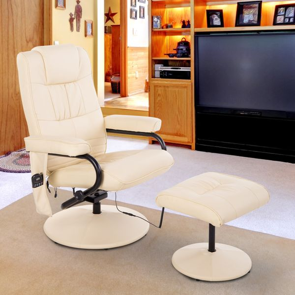 HOMCOM Massage Recliner Ottoman Set Electronic Swivel Armchair with Wrapped Base and Matched Footrest 10 Vibration Modes Beige|Aosom Canada