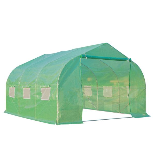 Outsunny Outdoor Greenhouse 11.5' x 10 ' x6.6' Walk-in Greenhouse Garden Plant Seed Green House Premium Steel Frame | Aosom Canada