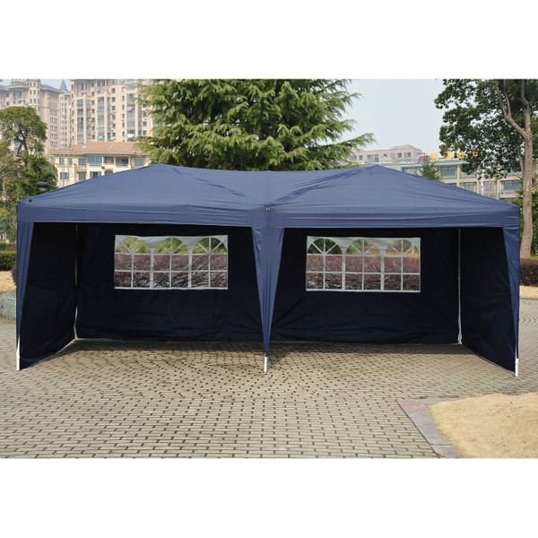 Outsunny 10'x20' Pop Up Party Tent Outdoor Patio Instant Wedding Canopy Shelter with 4 Side Walls (Blue) | Aosom Canada