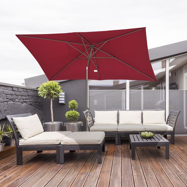 Outsunny 6.5x10ft Rectangle Aluminum Tilt Patio Umbrella Garden Market Parasol with Crank UV-protected and Waterproof Wine Red Aosom.ca