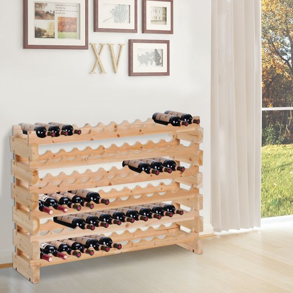 HOMCOM Wood Wine Rack 72 Bottles Holder 6 Tier Wooden Display with Shelves Storage Stand Stackable | Aosom Canada