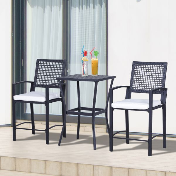 Outsunny 3 Piece Outdoor Classic Bar Style Patio Rattan Bistro Furniture Set Outunny Chair   Aosom Canada