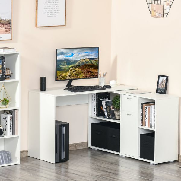 HOMCOM Convertable L-shape Computer Desk Home Office Table with Storage Shelf Drawer Cabinet White w/   Aosom Canada