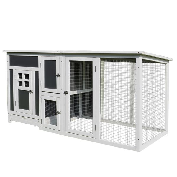 PawHut Deluxe Wood Chicken Coop PC Roof w/ Run Box | Aosom Canada