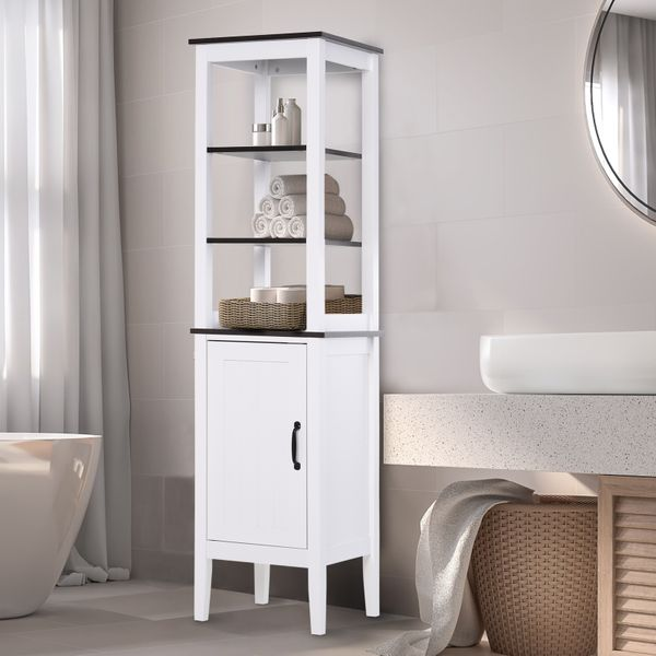 "Kleankin 64"" Bathroom Tall Cabinet Storage Cupboard MDF Free Standing Furniture White Tall Bath Cabinet White Bathroom Tower Cabinet with Adjustable Shelves Unit Freestanding Shower 