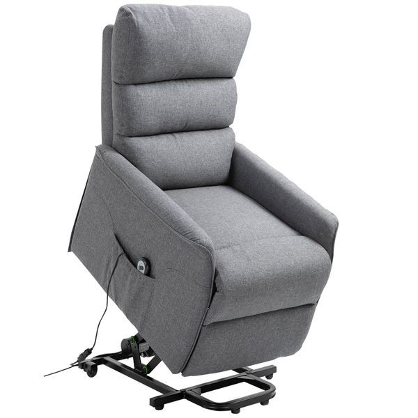 HOMCOM Electric Power Lift Recliner Chair Lounge with Remote Control and Wheels Linen Fabric Living Room Furniture Grey AOSOM.CA