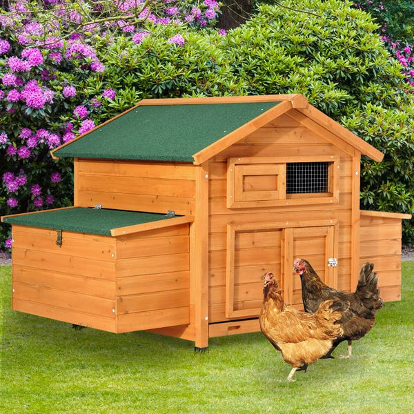 PawHut Wood Chicken Coop w/ nesting box Backyard|AOSOM.CA