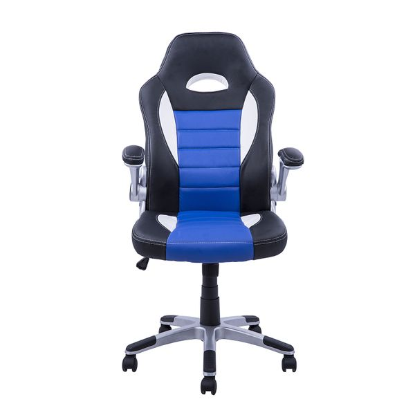 HOMCOM Racing Chair Office Swivel Excutive Computer Gaming Seat with Adjustable Armrest Blue | Aosom Canada