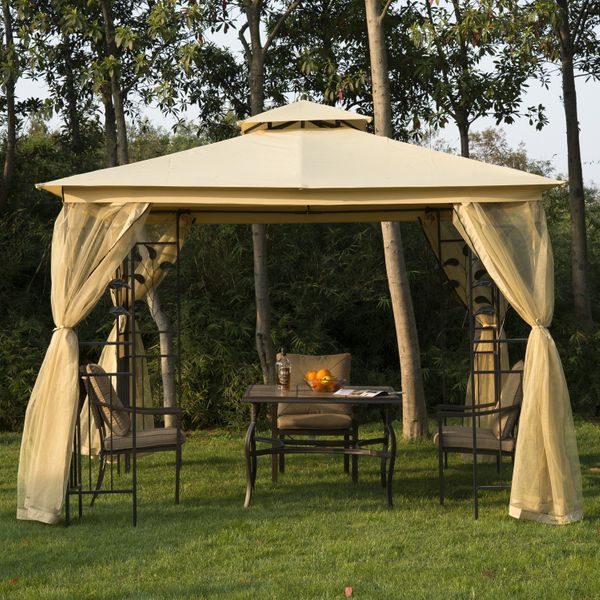 Outsunny 2-tier Gazebo Canopy 10x10 Waterproof Sun Shade Sunshelter UV Protect for Outdoor Patio, Beige |Aosom Canada