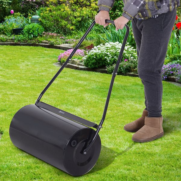 Outsunny 46L Heavy Duty Push/Tow Lawn Roller Filled w/ Water or Sand Black