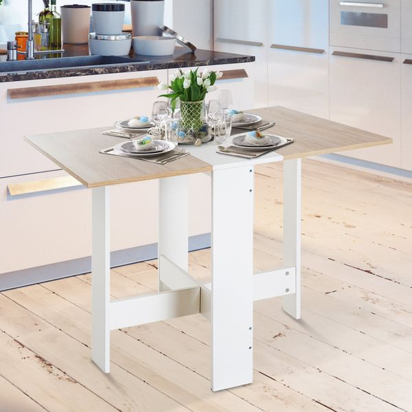 HOMCOM Drop Leaf Dining Table Space Saving Oak | Aosom Canada