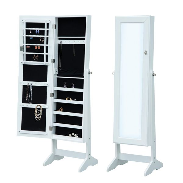 HOMCOM Standing Mirror Jewelry Armoire Cabinet Organizer for Rings Earrings Bracelets Lockable Display Storage Stand White | Aosom Canada