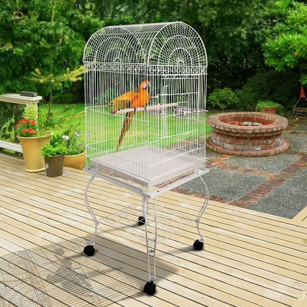 PawHut 60-inch Large Bird Parrot Cage Rolling Cockatiel Finch Macaw Aviary Cage with 2 Stainless Steel Cup Pet Furniture White | Aosom Canada