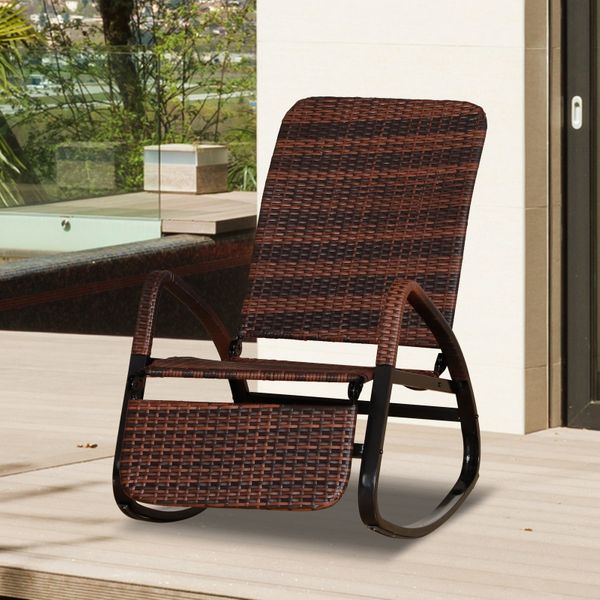 Outsunny Patio Adjust Rattan Rock Lounge Chair Outdoor Foldable Recline w/ Footrest Brown