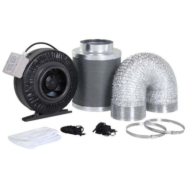 DURHAND 6 Inch Inline Fan Carbon Filter Duct Combo 2 Clamps Hydroponics Grow Room Tent Ventilation Kit|Aosom Canada