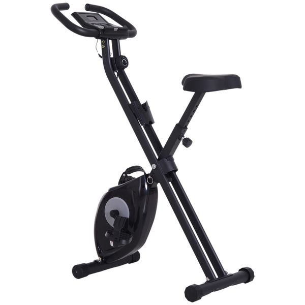 Soozier Indoor Magnetic Upright Exercise Bike with Tablet/Phone Holder Black|Aosom Canada