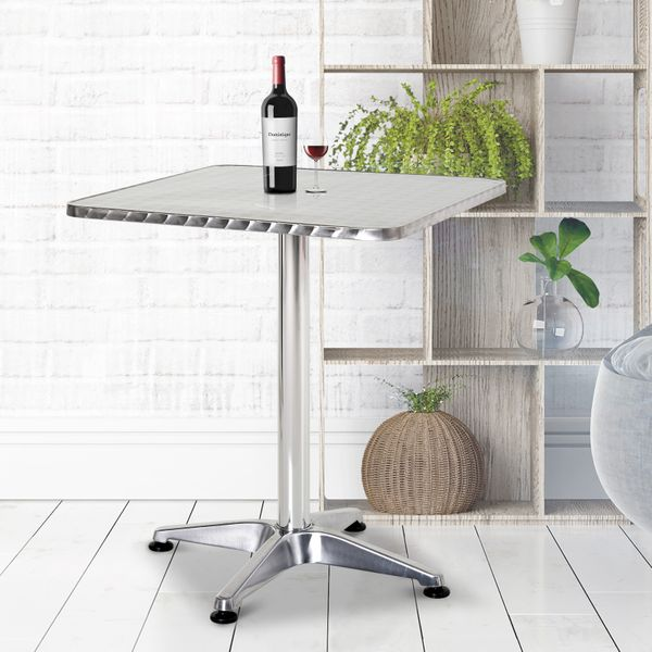"HomCom 24"" Stainless Steel Top Adjustable Height Bistro Bar Table Indoor Outdoor Home Pub Patio Use Adjustment Square Aluminum Table Silver  
