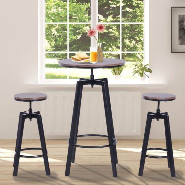 HOMCOM 3 Pieces Bar Table Set w/ 2 Stools Heavy Duty Steel Pub Dining Desk Chairs Industrial Metal Design Bistro Set Height Adjustable|Aosom Canada