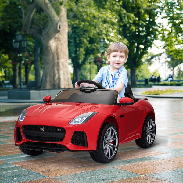 Aosom 12V Kids Licensed JAGUAR F-TYPE Ride On Car Toy Battery Powered High/Low Speed Child Electric Car Double Door Perfect Gift Red | Aosom Canada