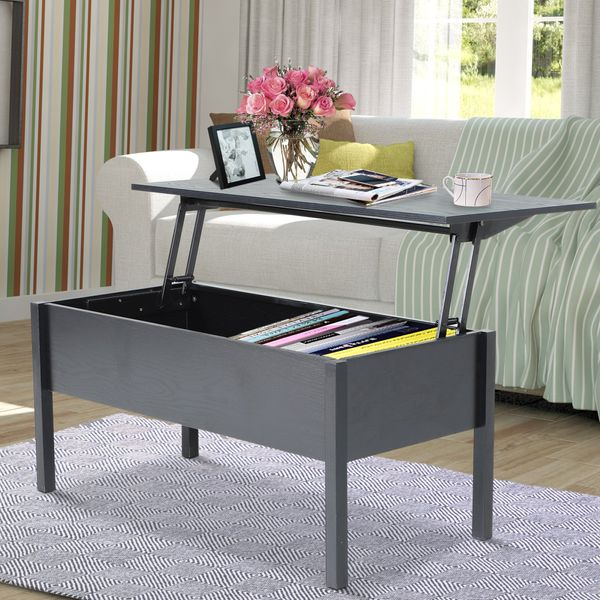 "HOMCOM 39"" Modern Lift Top Coffee Table Hidden Storage 