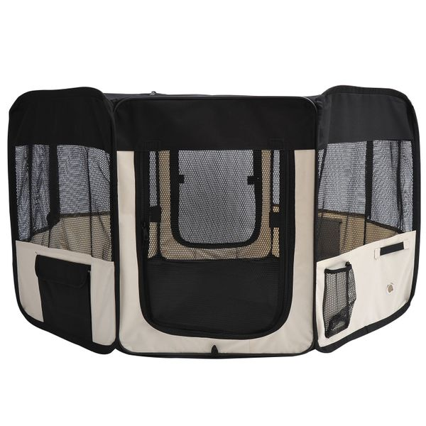 PawHut Soft Pet Playpen 49.2-inch Folding Tent Kennel Puppy Cat Dog Exercise Crate w/ Easy Storage Bag 6 Options | Aosom Canada