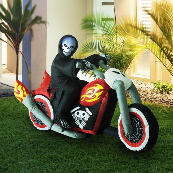 HOMCOM 7.5' Long Outdoor Lighted Airblown Inflatable Halloween Decoration - Grim Reaper Flaming Motorcycle | Aosom Canada
