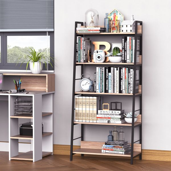 HOMCOM 5-Tier Bookcase 5-Tier Wide Shelving Storage Industrial, Floor Standing Bookcase Living Room Office, Simple Assembly Oak/Black | Aosom Canada
