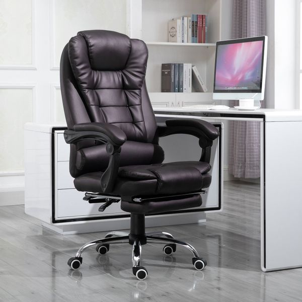 HOMCOM Ergonomic Executive Office Chair High Back PU Leather Reclining Chair with Retractable Footrest Lumbar Support Padded Headrest Armrest Dark Brown
