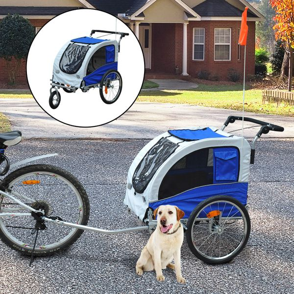 Aosom 2 In 1 Durable Pet Dog Bicycle Trailer Stroller Jogger Damping