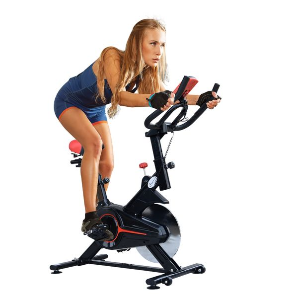 Soozier Indoor Cycling Bike Trainer Cardio Workout Fitness Equipment Stationary Spinning Upright Home Gym Exercise Bicycle | Aosom Canada