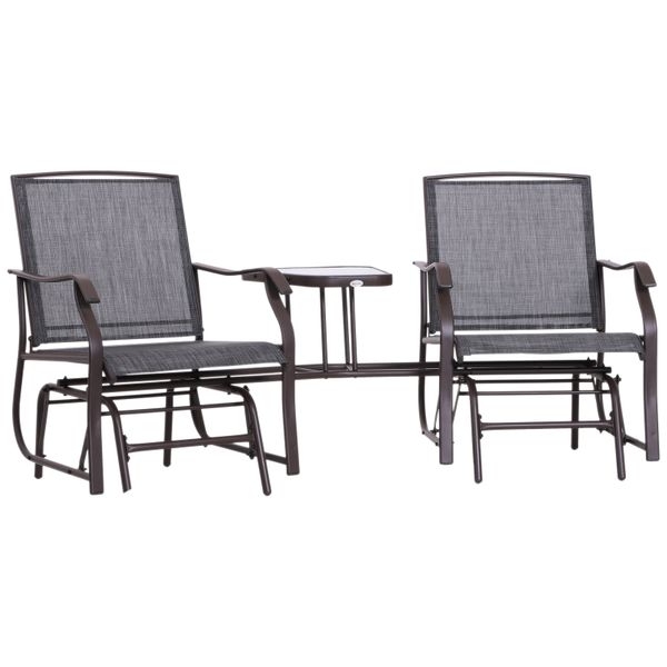 Outsunny Double Glider Chairs w/ Durable Center Table Comfortable High Back Bench Set Fabric Glass|AOSOM.CA