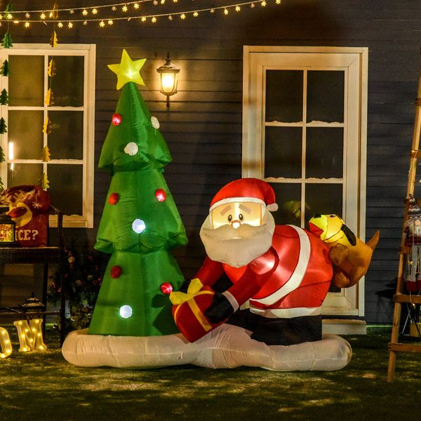 HOMCOM 7' Inflatable Santa Claus Puppy Christmas Tree Holiday Yard Lawn Decoration with LED Lights Indoor Outdoor Blow Up Decor Lighted | Aosom Canada