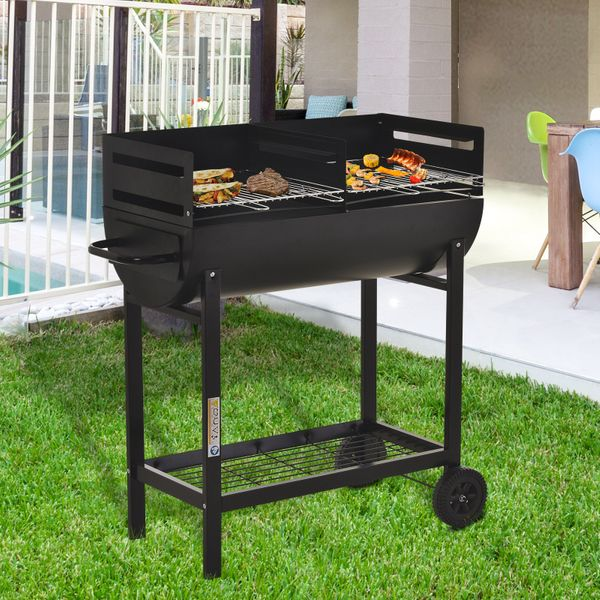 """Outsunny 35.5"""" Steel Portable Outdoor Charcoal Smoking Grill with Wheels  Black BBQ Cart 2 Rolling 