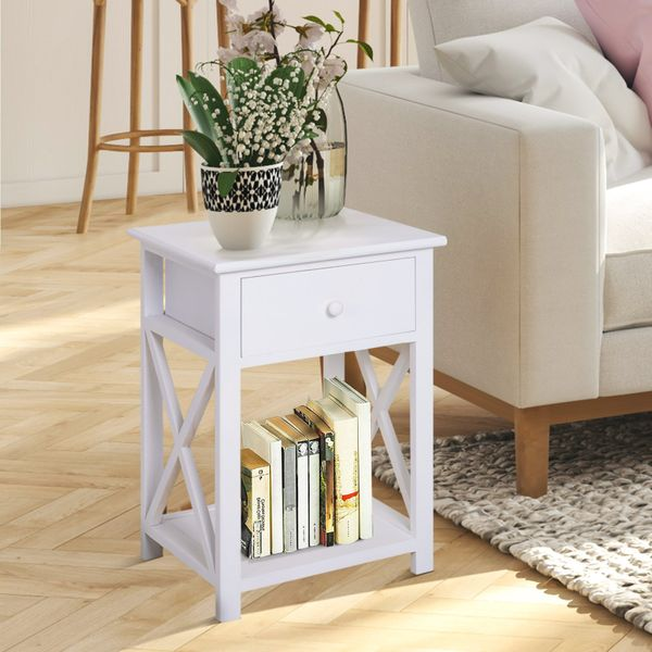 HOMCOM End Table Open Cabinet w/ Drawer and Shelf White|Aosom Canada