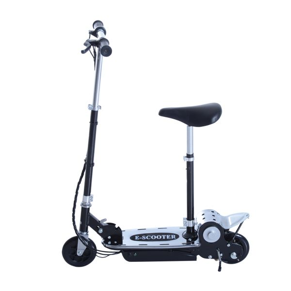 Qaba Adjustable Folding Seated E-Scooter Battery Powered Electric Scooter with Seat Motorized Bike Foldable 8 mph Black | Aosom Canada