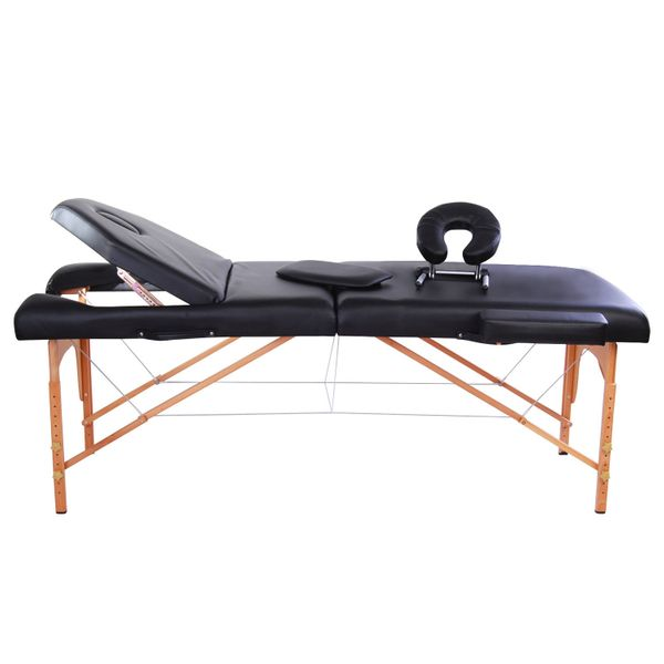 "Foldable Massage Table Chair 4""x91"" Portable Spa Facial Spa Bed w/ Free Carry Case Black 
