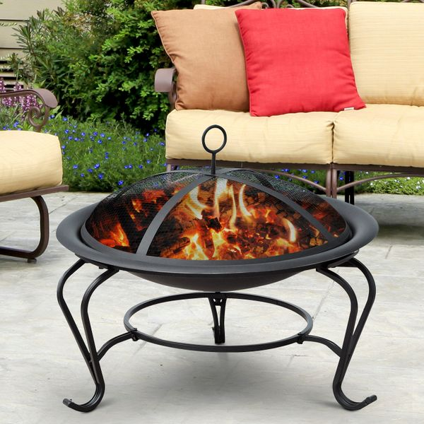 "Outsunny 22"" Round Fire Pit with Poker and Spark Screen Wood Burning Patio Fireplace Black 