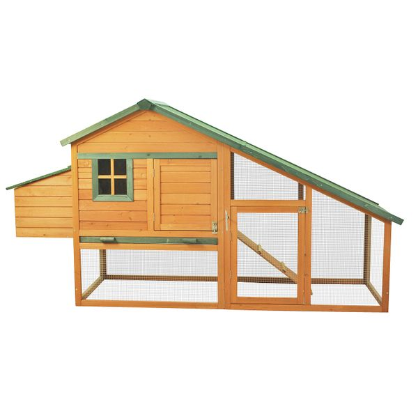"Pawhut 87""L×29""W×46"" Deluxe Solid Wood Chicken Rabbit Poultry Coop with Ramp and Nesting Box Backyard Outdoor Garden Rabbit Poultry Hen House w/ Run 