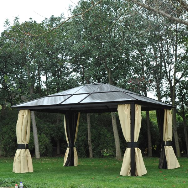 Outsunny 14x12ft Deluxe Hardtop Outdoor Patio Gazebo Aluminum Pole Hard Top Waterproof Canopy Garden Heavy-Duty Shelter with Curtains and Mosquito Netting|Aosom Canada