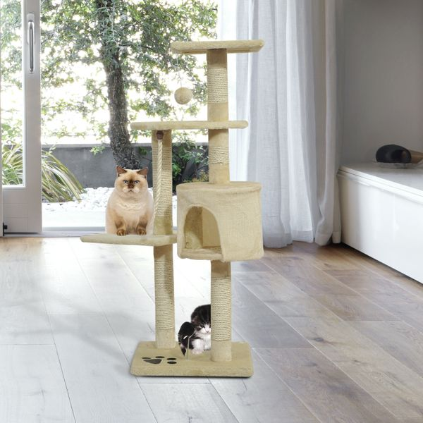 """PawHut 44"""" Scratching Cat Tree Tower with Tunnel And Scratching PostMulti Level Activity Center Kitty Condo Furniture Post Beige