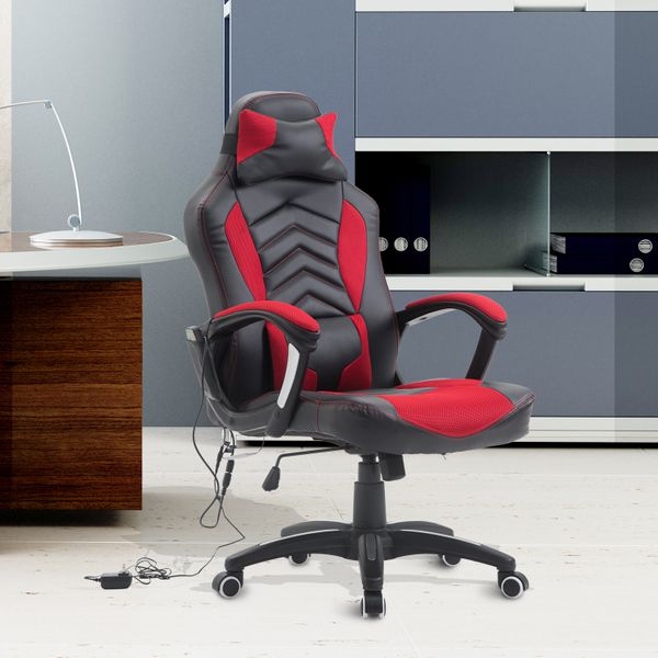 HOMCOM Ergonomic Massage Office Chair Heated Vibrating Swivel Computer Seat with Pillow and Lumbar Support|Aosom.ca