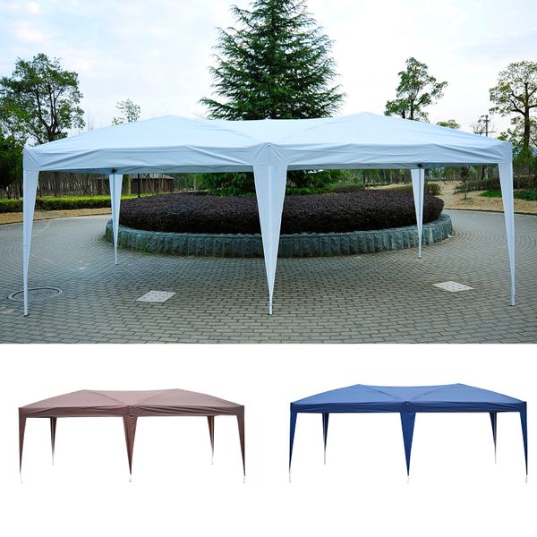 Outsunny 10'x20' Foldable Pop Up Party Tent Outdoor Patio Gazebo Canopy Wedding Market Tent without Walls, Oxford Canopy|Aosom Canada
