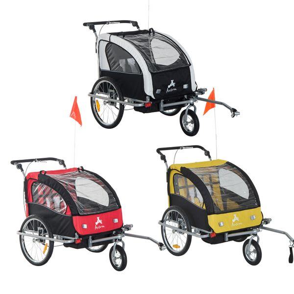 Aosom 2in1 Double Child Baby Bike Trailer and Stroller|Aosom Canada