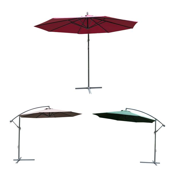 Outsunny Φ10' Deluxe Patio Umbrella Outdoor Market Parasol Banana Hanging Offset Sunshade | Aosom Canada
