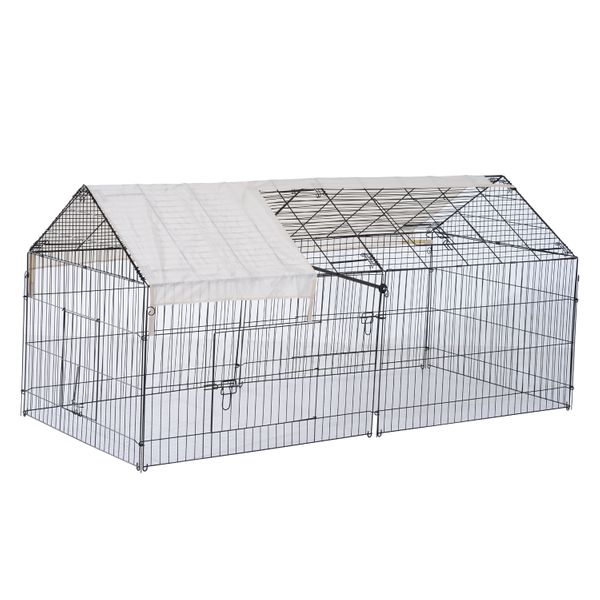 "PawHut 87"" Metal Outdoor Small Animal Enclosure w/Protective Cover Black