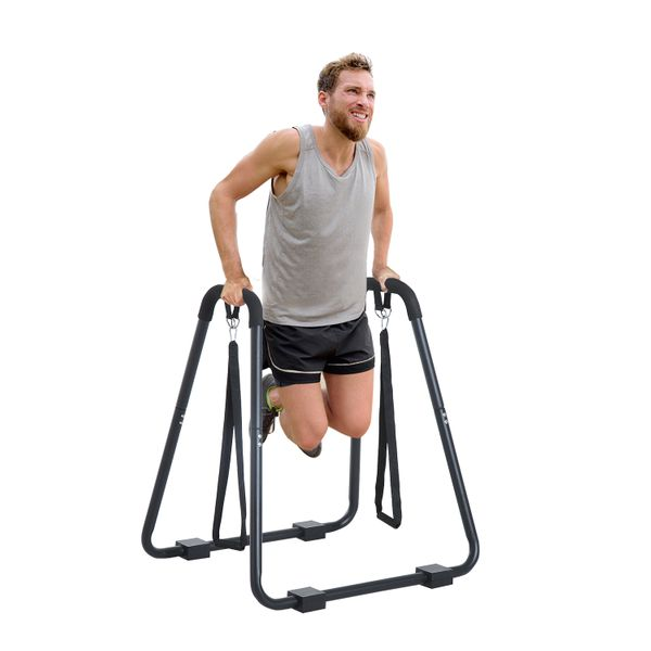 Soozier Fitness Dip Station Body Press Bar Cardio Workout Home Gym Pull Push Up Stand with Straps Multi-Function Exercise Black | Aosom Canada