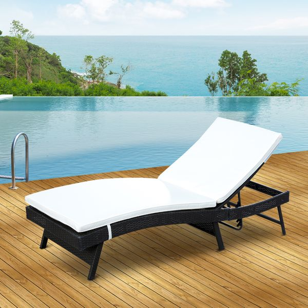 Outsunny Adjustable Wicker Rattan Sun Lounger Sofa Patio Pool Chaise Lounge Furniture w/ Cushion |Aosom Canada