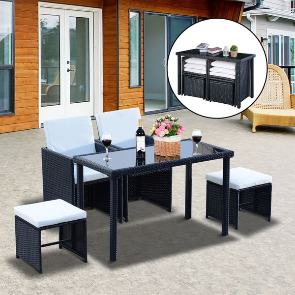 Outsunny Rattan Outdoor Furniture 5pc Wicker Dining Set Outdoor Sofa Table Ottoman Space Saving Patio Furniture with Cushion, Black |Aosom Canada