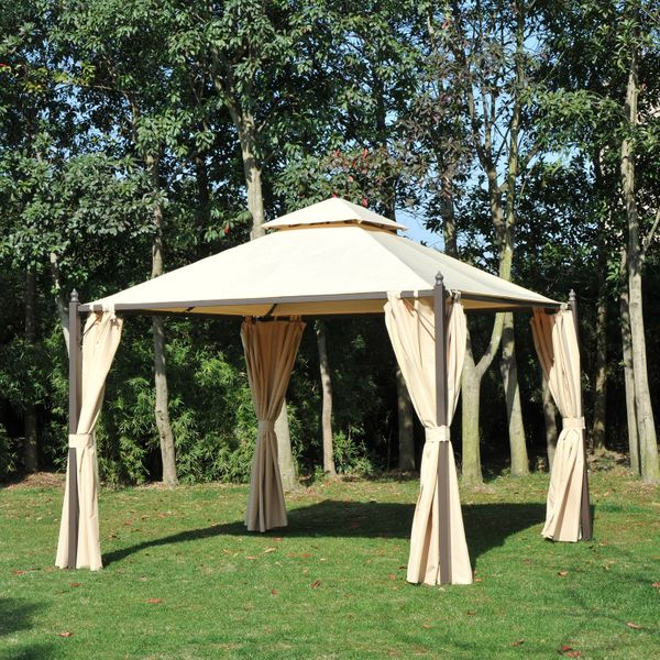 Outsunny 10x10ft Gazebo Canopy Double-tire Garden Shelter Outdoor Sun Shade with Curtains Beige | Aosom Canada