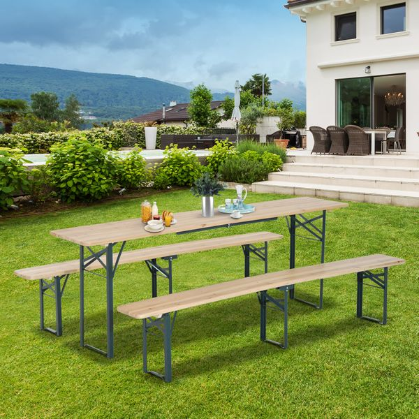 Outsunny Folding Picnic Table Bench Set Camping Garden BBQ Party Portable Wood | Aosom Canada